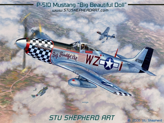 P 51 Mustang Big Beautiful Doll Stu Shepherd Art